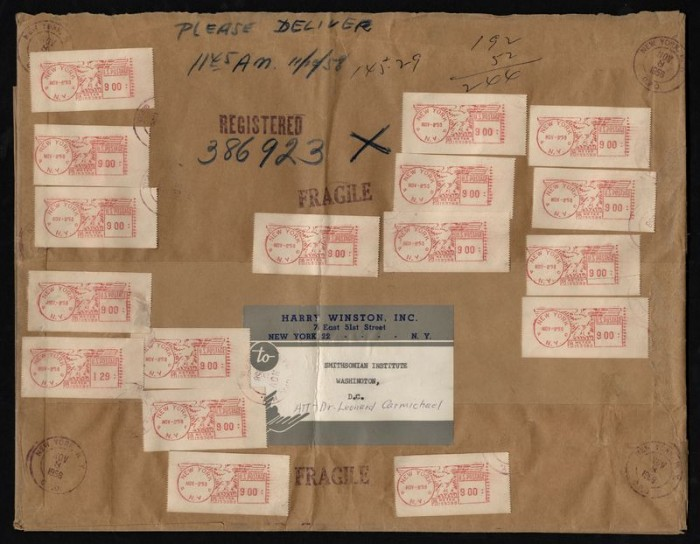The wrapper for the package containing the Hope Diamond is part of the collection at the Smithsonian's National Postal Museum.