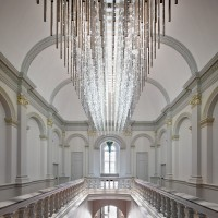 Artist Leo Villareal's installation above the Grand Staircase of the renovated Renwick Gallery, Smithsonian's American Art Museum. (Photo by Ron Blunt)