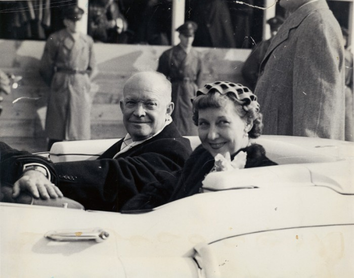 Eisenhowers in open car