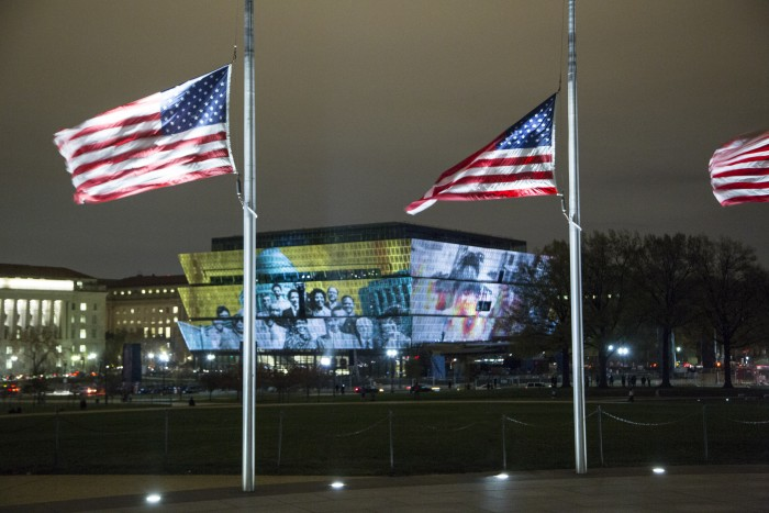 For three nights in November, the façade of the Smithsonian's National Museum of African American history and Culture was illuminated with moving images commemorating three important milestones in African American history: the 150th anniversary of the ratification of the 13th Amendment, the 150th anniversary of the end of the Civil War and the 50th anniversary of the passage of the Voting Rights Act.