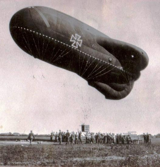 German observation balloon, around 1918. This balloon is the type that Emil Merkelbach was in when Louis Bennett Jr. opened fire on him. Merkelbach sent these and other photos and souvenirs of his wartime service to Mrs. Bennett after the war.