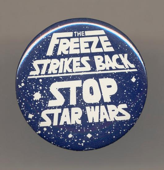 This button plays on the second Star Wars film's title, The Empire Strikes Back.