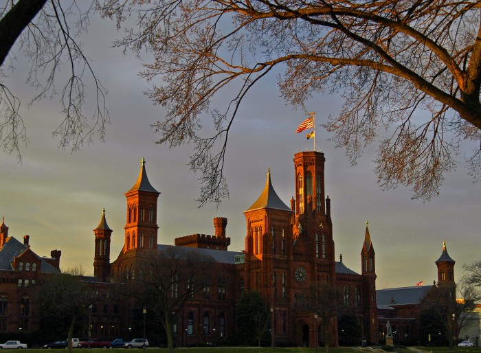The Smithsonian Castle at dusk. (Photo by Eric Long, 2004)