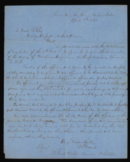 This copy of Grant's letter outlining the terms of surrender was made by W.H. Atkinson, a clerk in the Adjutant General's office, Army of Northern Virginia.