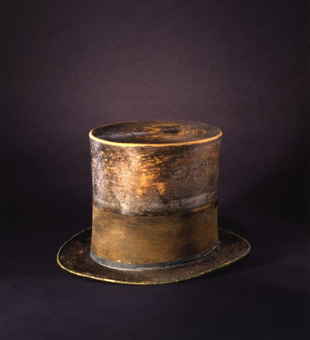 The silk top hat Abram Lincoln wore to Ford's Theater on the night he was assassinated.
