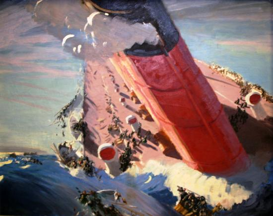 """""""The Sinking of the Lusitania"""" by Charles Hopkinson (1869-1962). Hopkinson was a prominent portrait painter and landscape artist from Massachusetts with a career spanning more than 60 years. He painted this picture to be displayed in shop windows as part of the Liberty Loan drives. When Hopkinson donated this painting to the Smithsonian in 1920, he wanted it noted whenever displayed that the quality of the painting was """"superficial"""" as it was intended for use as a poster and should not to be compared to his """"serious paintings."""""""