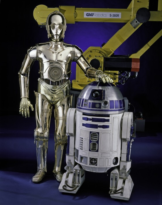"Costumes of C-3PO and R2-D2 from ""Star Wars Episode VI: Return of the Jedi,"" released in 1983. © 1977 Lucasfilm Ltd. All Rights Reserved."