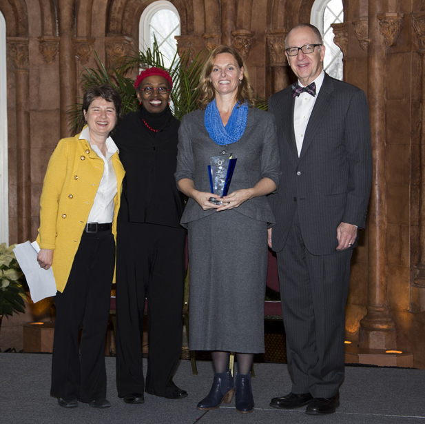 From left, Lisa Barrett, director of development, STRI; Assistant Secretary for Education and Access Claudine Brown; Sharon Ryan, public programs director, STRI; and Smithsonian Secretary David Skorton.