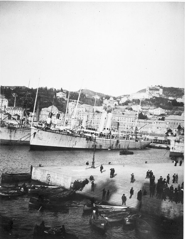 Black and white photo of steamship