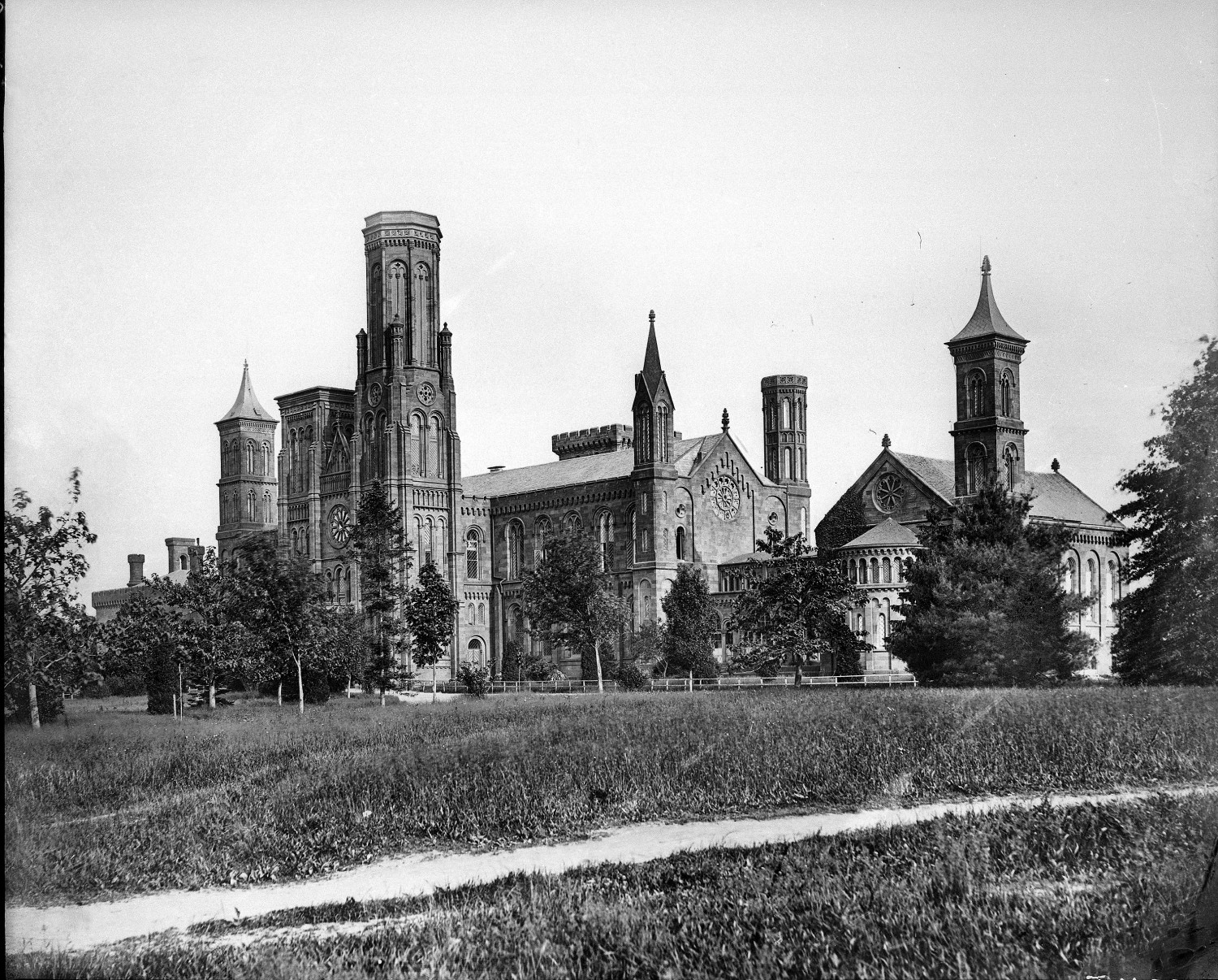The James Renwick-designed Smithsonian Institution Building on the National Mall. (Photographer unknown, 1867)