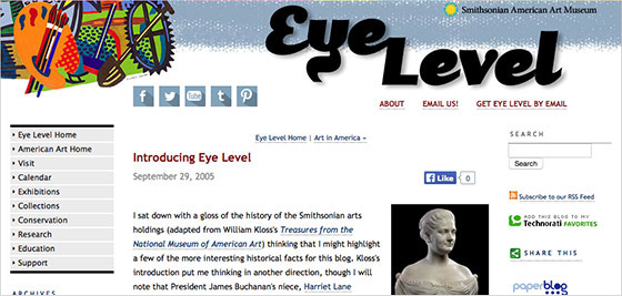 Eye Level's first blog post. The blog went live on November 29, 2005.