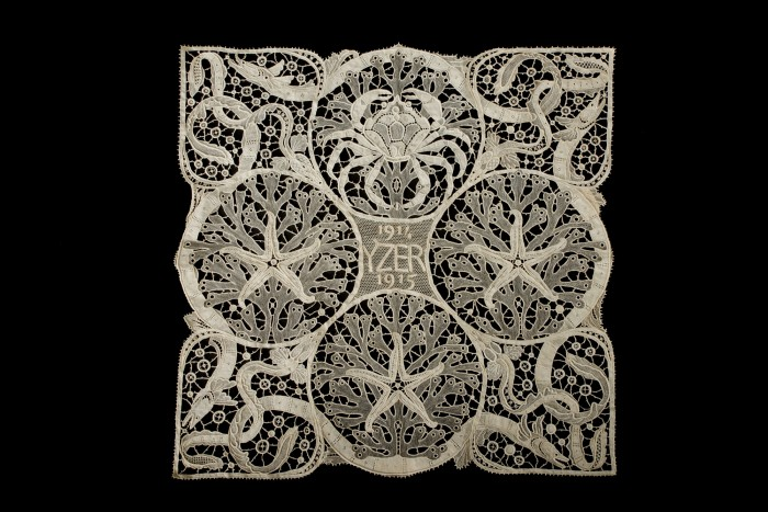 Some of the war laces, such as this pillow top, were designed by famous Belgian artists who donated their efforts to help their countrymen.