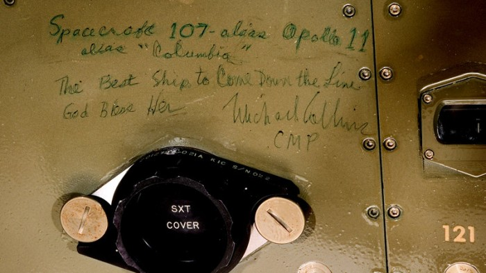 While 3D scanning the Apollo 11 Command Module Columbia, museum staff uncovered writing on its interior walls. Among the notations is this tribute to the Cammand Module itself written by mission commander Michael Collins. (NASM photo)