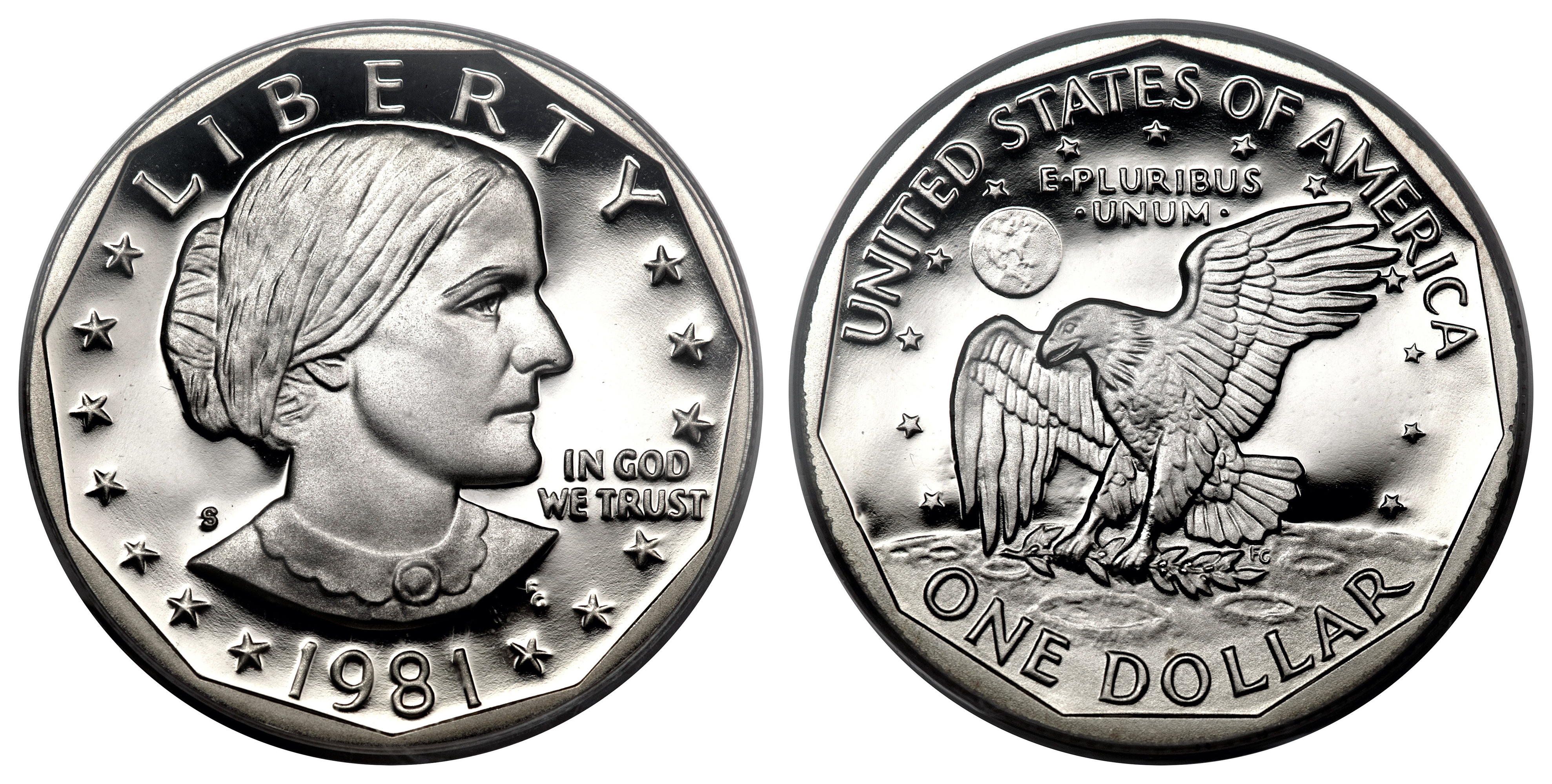 The Susan B. Anthony dollar coin was minted from 1979 to 1981, when the series was halted due to poor public reception. (Photo via Wikimedia Commons/PD)