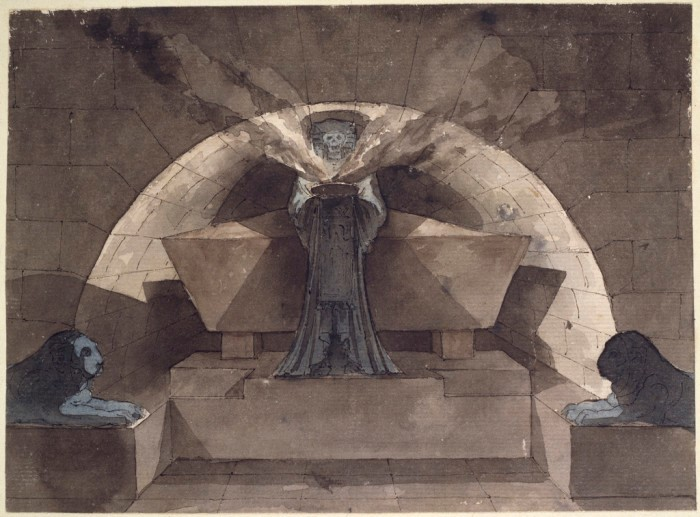 Drawing of Death as robed figure