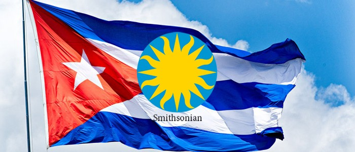 Cuban flag with Smithsonian logo superimposed