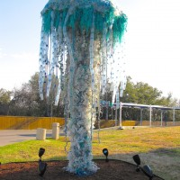 Sculpture of jellyfish made from plastic debris