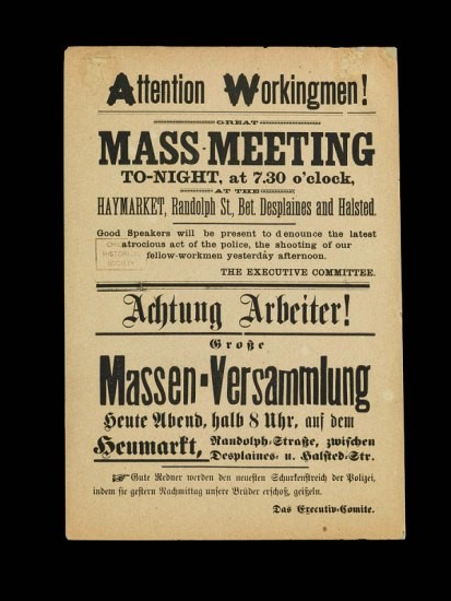 Announcement to working men in English and german