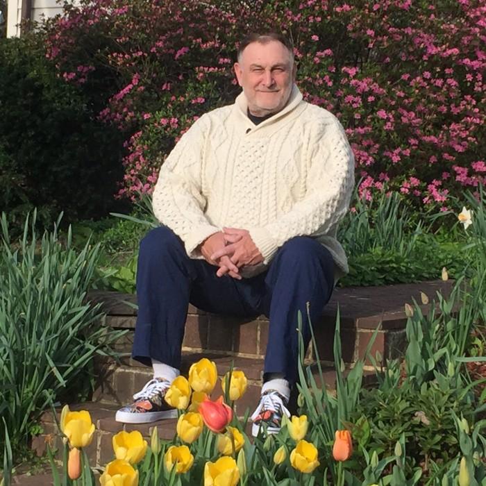 Netcott sitting in garden