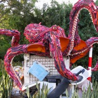 sculpture of Red Pacific octopus made from plastic debris