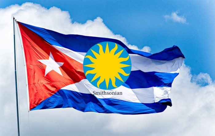 Cuban Flag with superimposed Smithsonian logo
