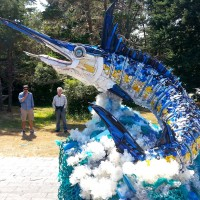 sculpture of blue marlin made from plastic debris