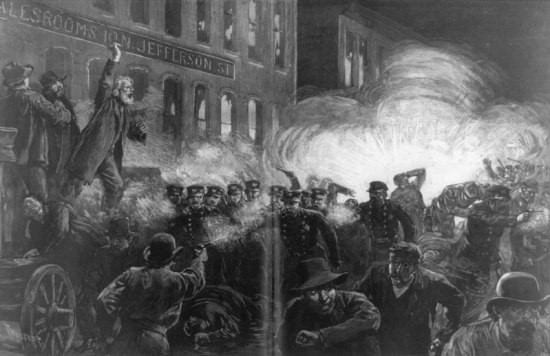 Etching of crowd clashing with police, exhorted by bearded man