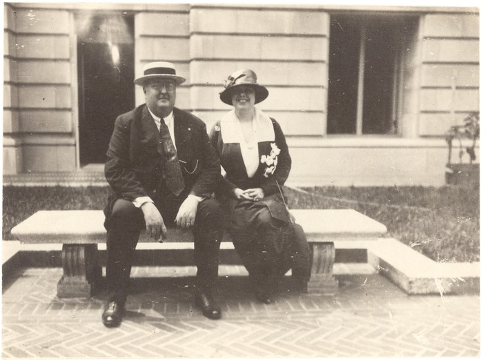 Mrs and Mr Heye seate don a bench