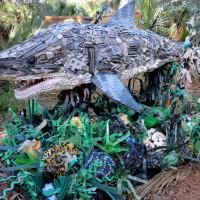 sculpture of shark made of plastic debris