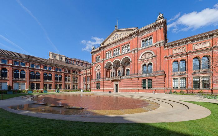 Exterior of V&A with reflecting pool