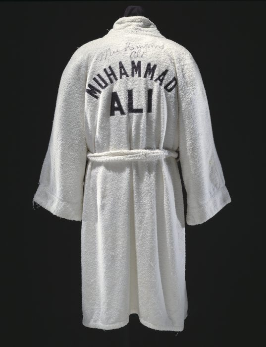 Autographed white terry cloth robe