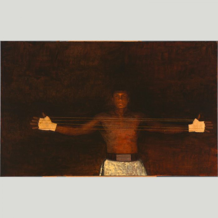 Painting of Ali in trunks with extended arms