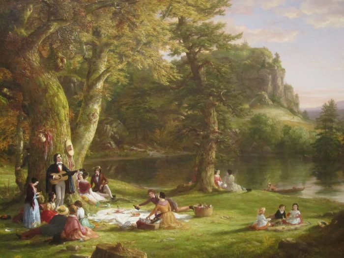 Romantic painting of picnickers and