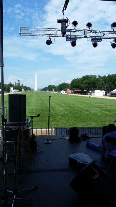 View down the Mall of the Washington Monument from the Ralph Rinzler performace stage