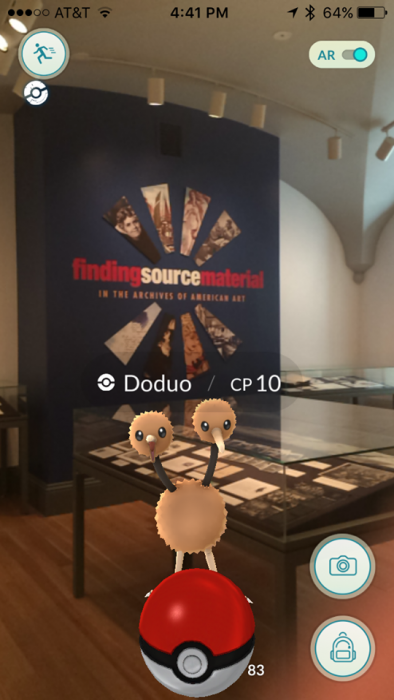 Screenshot from augmented reality game Pokemon Go
