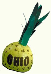 Hat shaped like a pineapple with Ohio printed onit