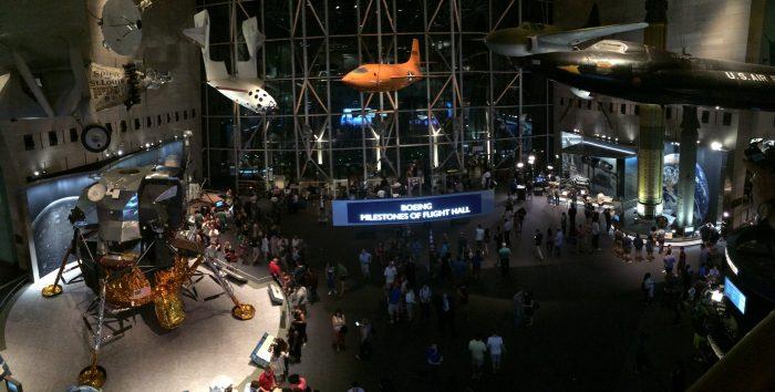 Panoramic shot at night, lunar lander in foreground