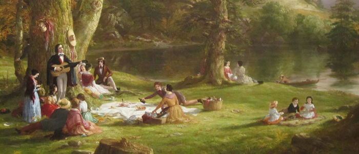Cropped version of painting The Picnic by Thomas Cole