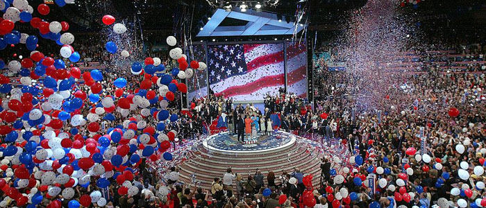 NEW YORK - SEPTEMBER 02: Balloons fall from the ceiling following U.S. President George W. Bush's speech accepting his party's nomination on the final night of the Republican National Convention September 2, 2004 at Madison Square Garden in New York City. (Photo by Alex Wong/Getty Images)