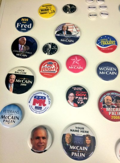 campaign buttons, McCain-Palin most prominent