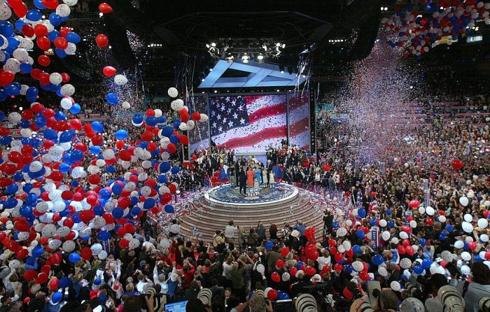 Balloons fall from the ceiling following President George W. Bush's speech accepting his party's nomination on the final night of the Republican National Convention at Madison Square Garden in New York City, Sept. 2, 2004