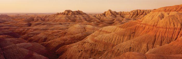 Panoramic view of barren hills