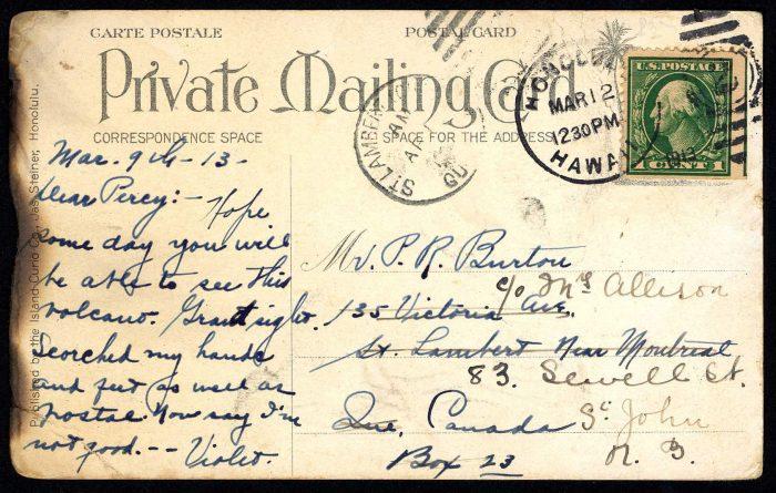 Scorched handwritten postcard describing volcano