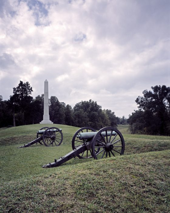War memorial in background, two cannons in foreground