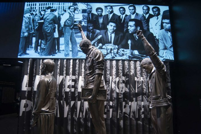 Statues of athletes raising black power fist at Olympics
