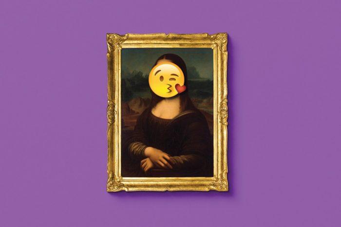Composite image of the Mona Lisa with an emoji