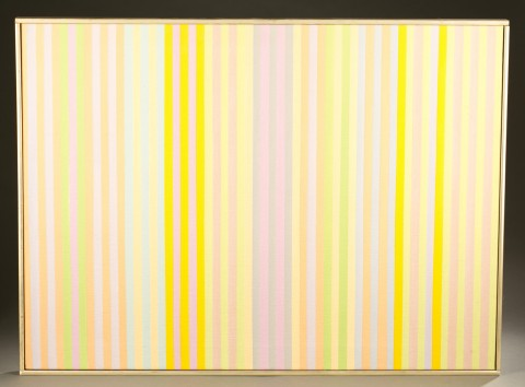 large painting with pastel vertical stripes