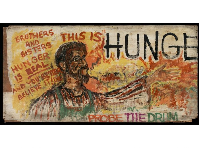 Segment of Hunger Wall mural with slogans and drawings
