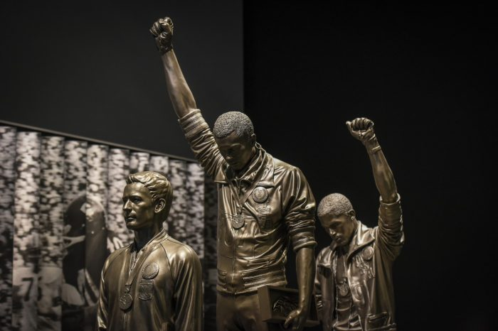 Statue of Olympic athletes giving Black Power salute