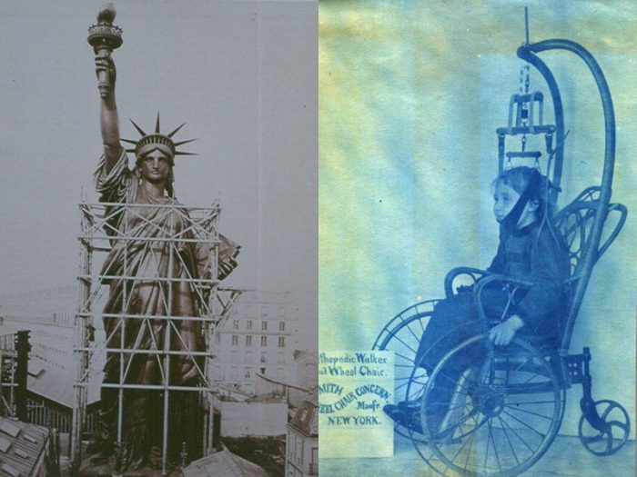 Side by side photos of Statu of liberty and child in orthopedic wheelchair